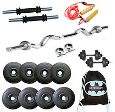 Gb Home Gym Set 20 Kg Plates + 3FtRod + SKIPPING + GYMBAG + Dumbbells