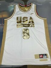 Nike Authentic Michael Jordan USA Olympic Jersey White Gold Sz 2XL Bulls Wizards