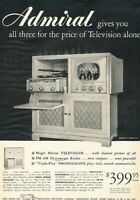 1949 Admiral Television TV Vintage Original Advertisement Print Art Ad K97