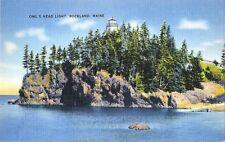 Postcard Maine Rockland Owl's Head Light Lighthouse Knox County NrMINT c1940s