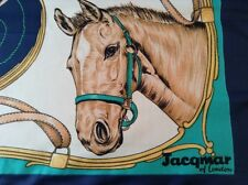 VINTAGE JACQMAR EQUESTRIAN HAND ROLLED SCARF.  26 x 26 INCHES.  LOVELY!