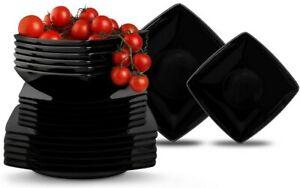 Geschirrset Tafelservice Tellerset Essservice Kombiservice 6 Perso eckig schwarz