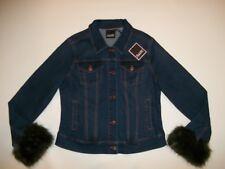 Nanette Lepore Jean Denim Jacket Removable Faux Fur Trim Womens Size Medium