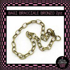 2x BASI BRACCIALE BRONZO catena moschettone charms componenti fai da te bijoux
