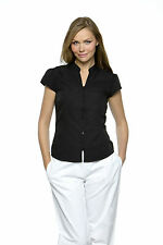 Women's Hip Length Cotton Blend Fitted Blouse Tops & Shirts