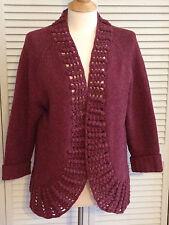 Lafayette 148 LARGE sweater thick crochet wool open front cardigan purple alpaca