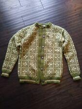 Dale of Norway Sweater Sz Small Vintage Green Reindeer Snowflakes Cardigan Wool