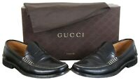 Gucci Mens Camaleon Black Polished Leather Penny Loafer Dress Shoes & Box Size 9