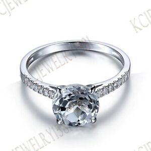 Solid 10K White Gold White Topaz Pave .2ct Natural Diamonds Ring 8mm Round Cut