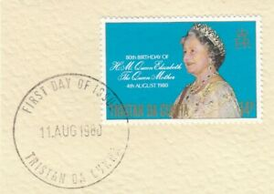 (85908) Tristan da Cunha Used Queen Mother 80th Birthday 1980 ON PIECE