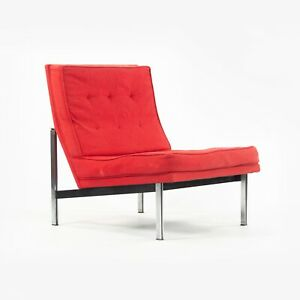 1950's Florence Knoll Associates Parallel Bar Lounge Chair Original Red Fabric