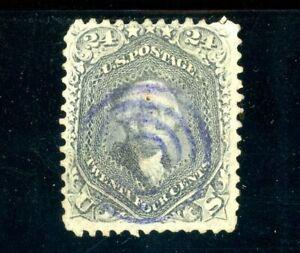 USAstamps Used VF US Serie of 1861 Washington Scott 78 Blue Cancel