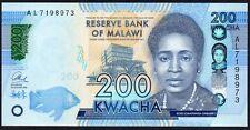 2016 MALAWI 200 KWACHA BANKNOTE * AL 7198973 * UNC * P-NEW *
