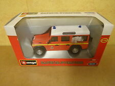 BOXED MODEL CAR BURAGO / LAND ROVER SAPEUR-POMPIER 1/50