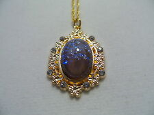 "VINTAGE TANZANITE MEXICAN OPAL DRAGONS BREATH NECKLACE 18"" CHAIN"