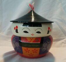 VTG japanese lacquer stacking trinket/jewelry box kokeshi doll pat.21813
