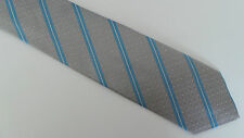 Paul Smith Tie Grey With Sky Blue Stripes MADE IN ITALY
