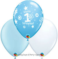30 Blue White Happy 1st Birthday Helium/Air Balloons Party Decorations First Boy