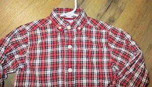 Boys size 3T cotton long sleeve red plaid shirt Gymboree