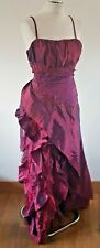 LONG STRAP Wine Red SATIN LAYER EVENING PARTY DRESS SEQUINS CHERLONE 18 UK