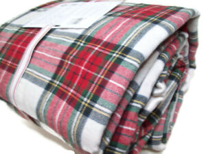 Pottery Barn Kids Holiday Morgan Plaid Organic Cotton Flannel Twin Sheet Set New
