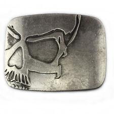 Vintage Skull Men's Belt Buckle Western Cowboy Jeans Silver