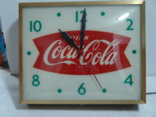 ANTIQUE COCA COLA LIGHTED CLOCK WITH CURVED GLASS - WORKS!