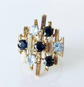 Beautiful Vintage 18ct Gold Aquamarine & Sapphire Abstract Modernist Ring UK O/P