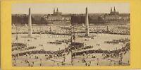 Francia Parigi Place Da La Concorde Fête Foto Stereo Vintage Albumina Ca 1860