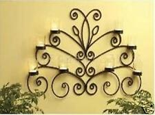 Iron Butterfly Candle Sconce Wall Art  8 Cups 80x60cm Brass/Gold Color