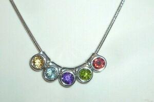 Juwelo Halskette 925 Silber Sterling silver Anhänger Juwelen bunt Steine Schmuck
