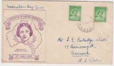 Stamp 1937 Coronation 1d green queen John Gower queen mother framed violet FDC