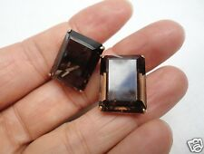 14K Yellow Gold Smokey Quartz Cufflinks Set 11.7 Grams