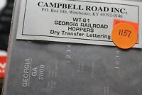 Campbell Road Dry Transfers decals HO, WT-61, georgia RR Hoppers, NEW, (1157)