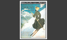 Skiing Chamonix Mont-Blanc France Art Deco c.1925 POSTER Reprint