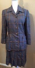 Carolina Herrera Gray Plaid Wool Skirt Suit Set Size 8 (Medium)