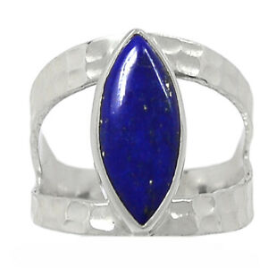 Hammered Design - Lapis - Afghanistan 925 Silver Ring Jewelry s.7 BR97422