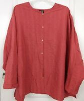 Eileen Fisher Womens Red Silk Linen Long Sleeve Blouse Top Plus Size 3X