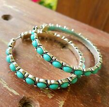 Cowgirl Bling HOOP EARRINGS Silver tone Rustic Turquoise Gypsy 2.25""