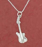 Electric Guitar Necklace Solid sterling silver 925 Charm Pendant and Chain