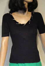 Vintage Black Orlon Pin Up Sweater Pearl Rhinestone Trim B34