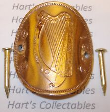 WALKING STICK BADGE / MOUNT A GENUINE EIRE / IRELAND PENNY - GUINNESS IRISH HARP