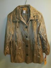 NWT RUBY RD. WOMENS JACKET GOLD CRINKLE, SIZE 16