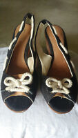Womens Sperry Top Sider Southport Wedge Sandal Black Canvas Peep Toe Sz 9 M Shoe