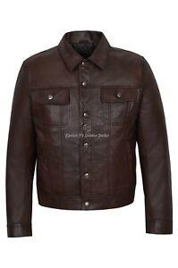 Mens Trucker Real Leather Jacket Brown Napa Western Fashion Biker Style 1280