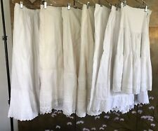 Lot Of 7 Vintage White Cotton Petticoats Great Lace Trim