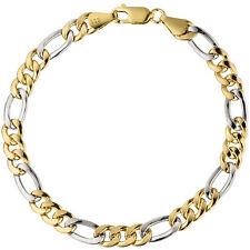 5,8 mm Armband 333 Gold Armkette 19 cm Gelbgold Weißgold Figaro glänzend bicolor