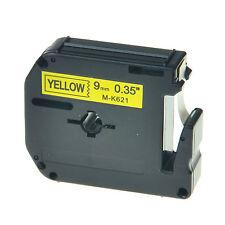 1PC Schriftband für Brother Schwarz auf Gelb MK621 M-K621 M621 9mm 8m P-touch 80