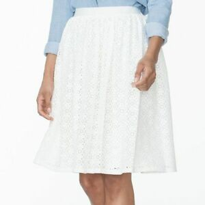NEW Plus Size Chaps Lace Skirt, White Ivory Pearl, sizes 1X 2X 3X FREE SHIPPING