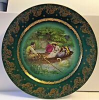 ANTIQUE ROYAL VIENNA CABINET PLATE * GREEN AND GOLD * COURTING COUPLE IN BOAT